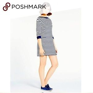 NWT Kate Spade Black White Havana Striped Boat Neck 3/4 Sleeve Sweater Dress xxs
